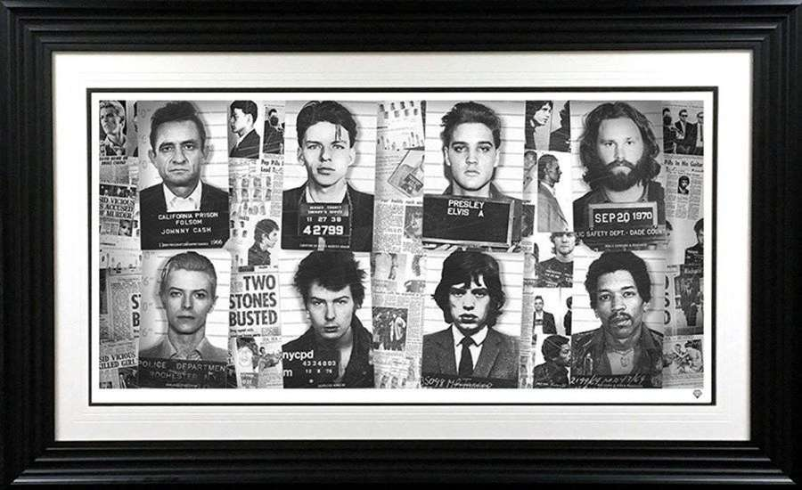 Music's Most Wanted - Framed Art Print by JJ Adams