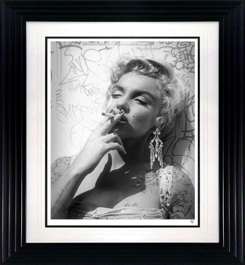 Smoking Gun - Marilyn - Black and White - Framed Art Print by JJ Adams