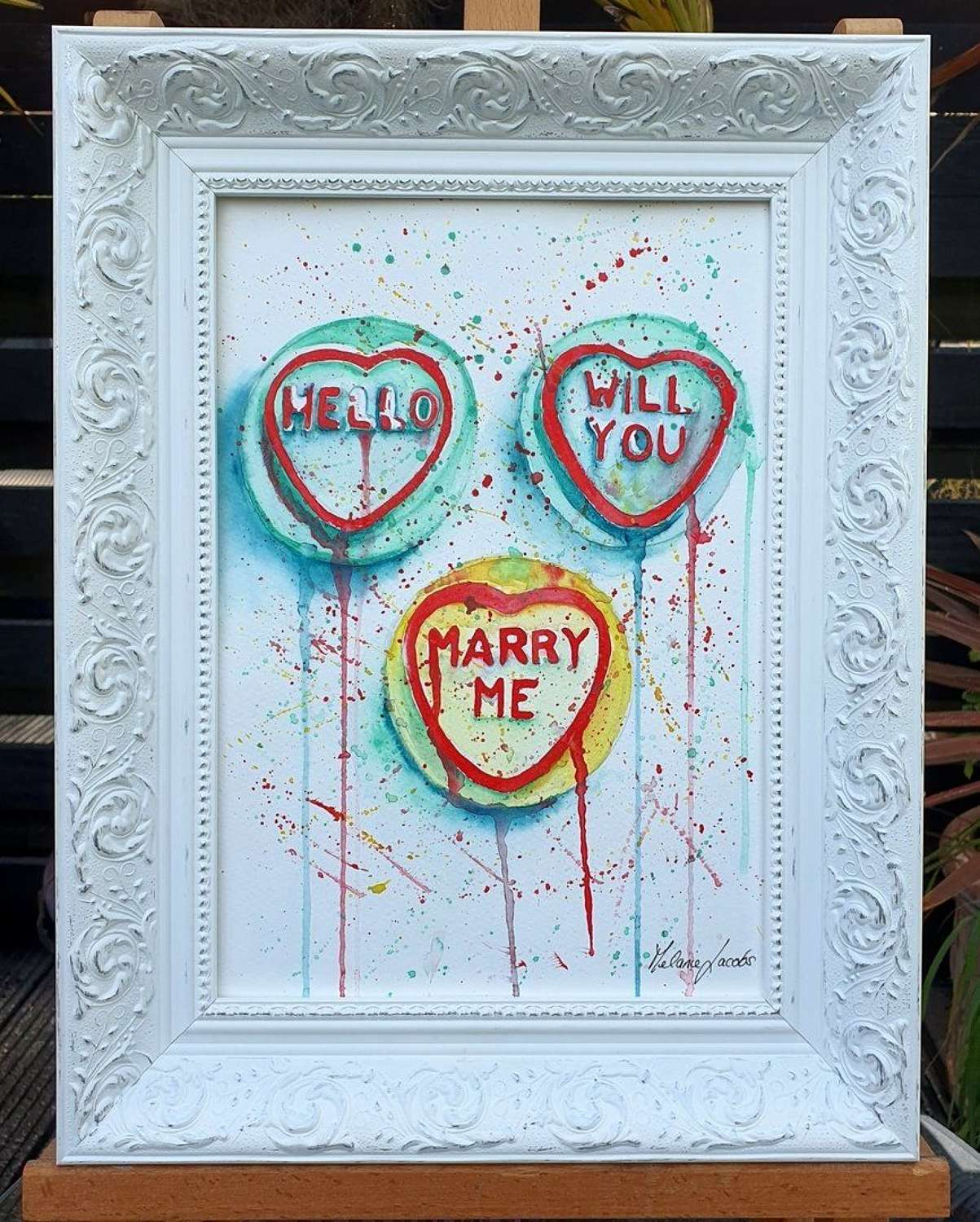 'Will You Marry Me?' Love-hearts Original Artwork By Melanie Jacobs
