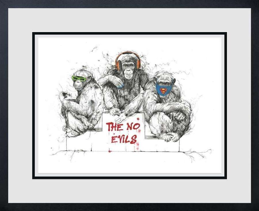 See, Speak & Hear No Evil Framed art Print By Scott Tetlow